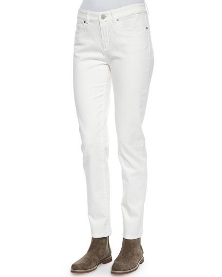 Loro Piana Hidalgo Denim Ankle Jeans, White