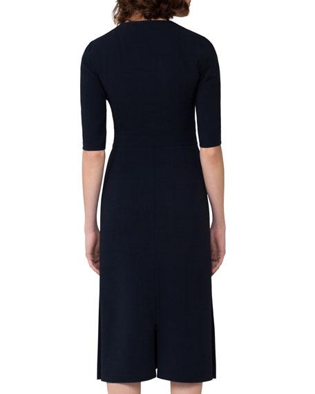 Half-Sleeve Wool Midi Dress