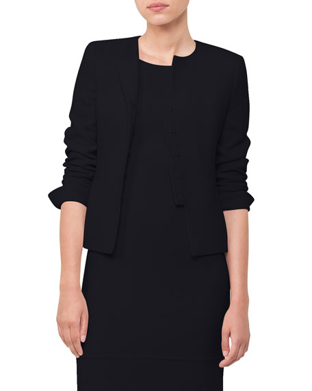 Round-Neck Snap-Front Wool Crepe Short Jacket