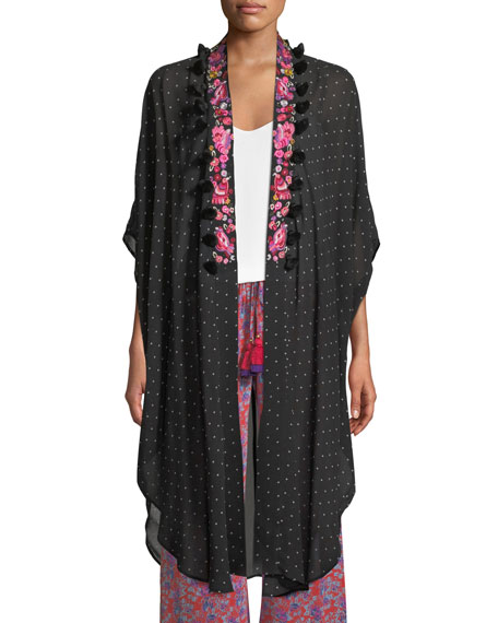 Figue Amira Aztec-Dot Kaftan-Style Jacket