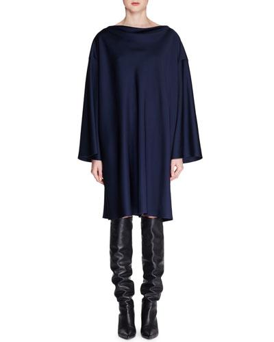Harper High-Neck Long-Sleeve Shift Dress