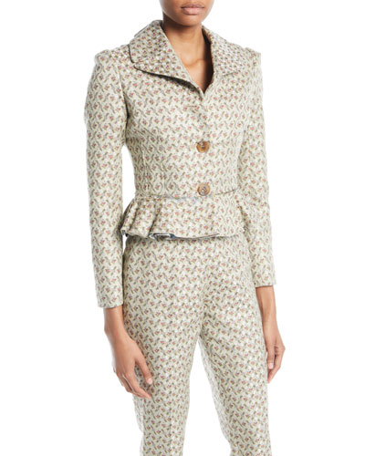 Jada Two-Button Floral-Jacquard Short Jacket