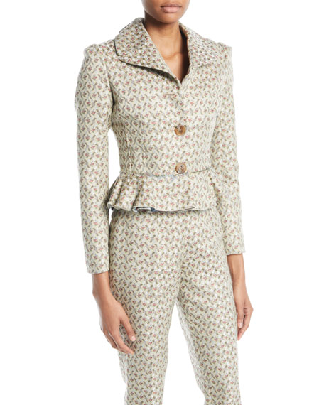 Jada Two-Button Floral-Jacquard Short Jacket