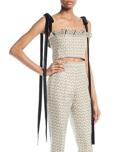 Floral-Jacquard Bustier Cropped Top w/ Velvet Ties