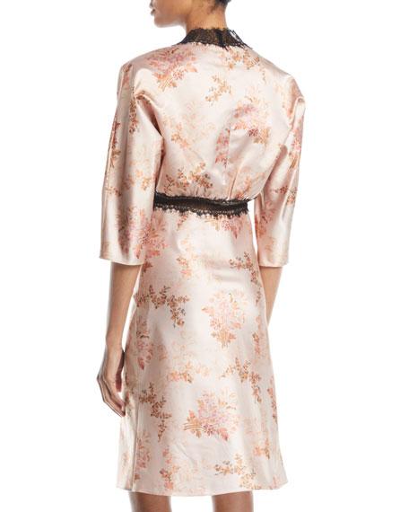 Dharma V-Neck Elbow-Sleeve Floral-Print Satin Dress w/ Lace