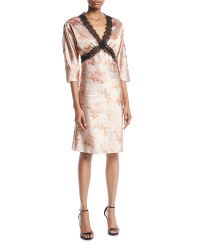 Dharma V-Neck Elbow-Sleeve Floral-Print Satin Dress w/ Lace
