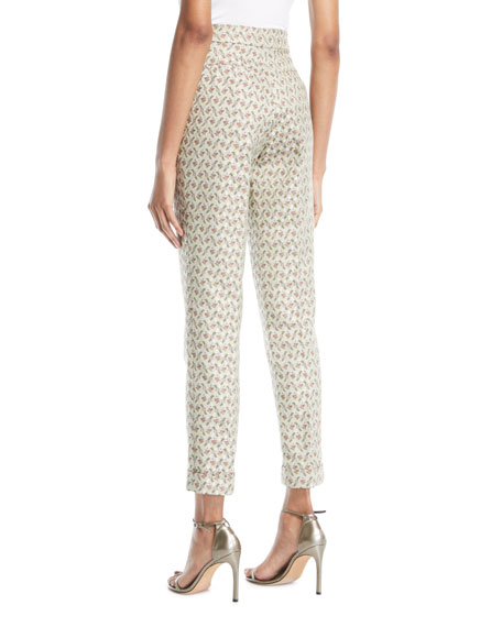 Peregrine High-Rise Skinny Floral-Jacquard Pants