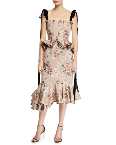 Dylan Floral Tapestry-Jacquard Peplum Dress