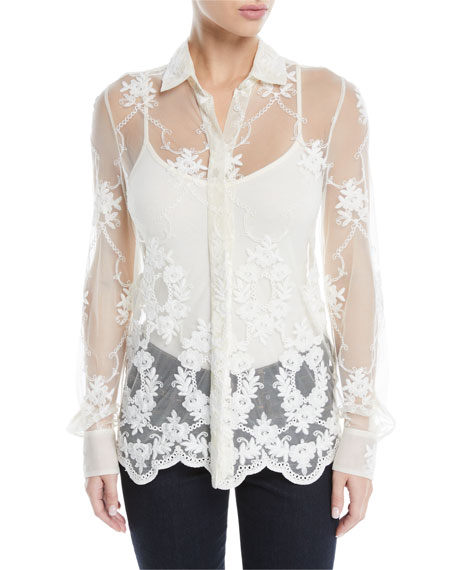 Baylee Button-Front Long-Sleeve Floral-Embroidered Tulle Shirt