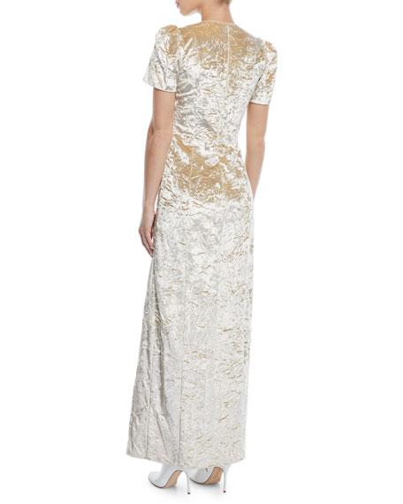 Doreen V-Neck Short-Sleeve Crushed Velvet A-Line Gown