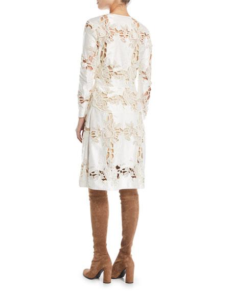 Donovan Jewel-Neck Long-Sleeve Floral Lace A-Line Dress