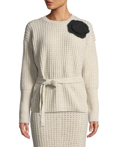 Kaori Corsage Marled Knit Sweater