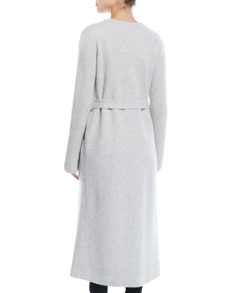 Koffi Long Belted Wool-Cashmere Duster Cardigan w/ Flower Detail