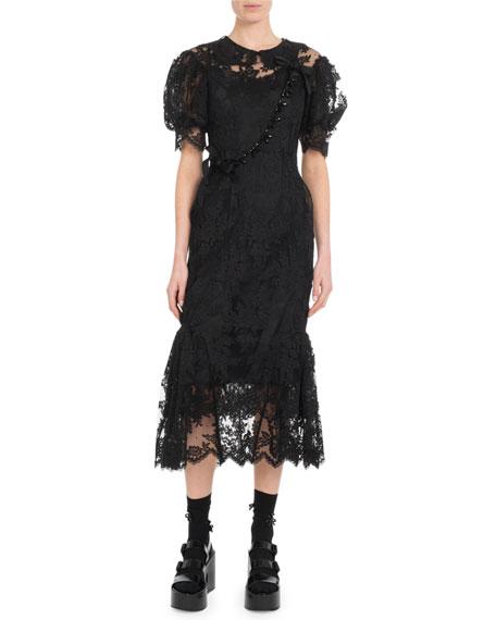 Short Puff-Sleeve Tulip Lace Midi Dress