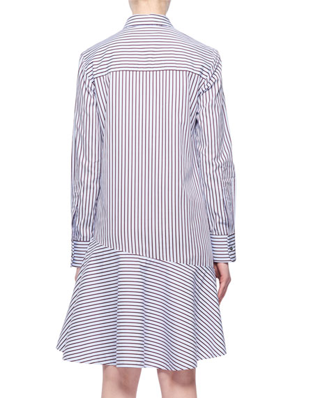 Long-Sleeve A-Line Striped Cotton Shirtdress