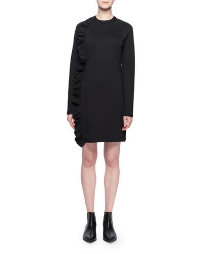 Crewneck Long-Sleeve Asymmetric Ruffle Chemise Jersey Dress