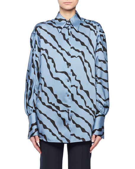 Abstract Animal-Print Shirred-Shoulder Long-Sleeve Shirt