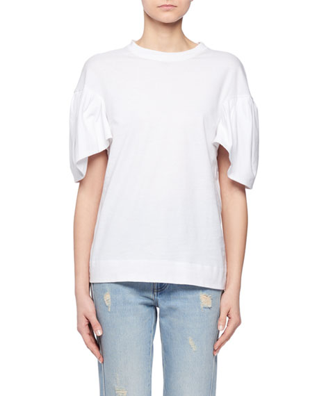 Ruffle-Sleeve Crewneck Cotton T-Shirt