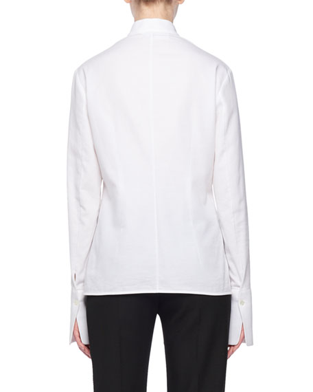 Band-Collar Pintucked Button-Front Long-Sleeve Tie-Waist Cotton Pique Shirt