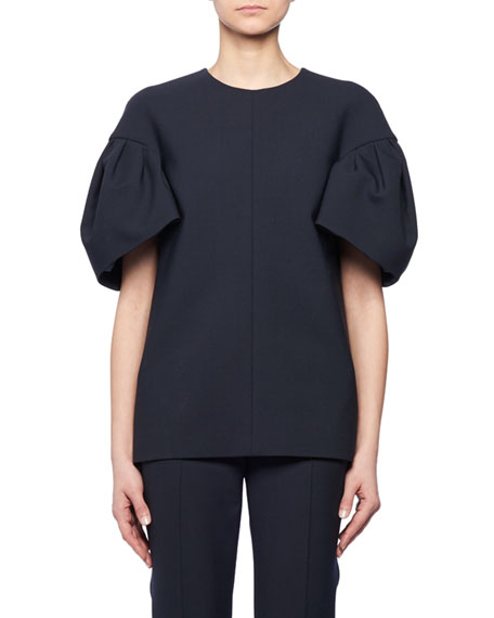 Round-Neck Bell Short-Sleeves Wool-Blend Top