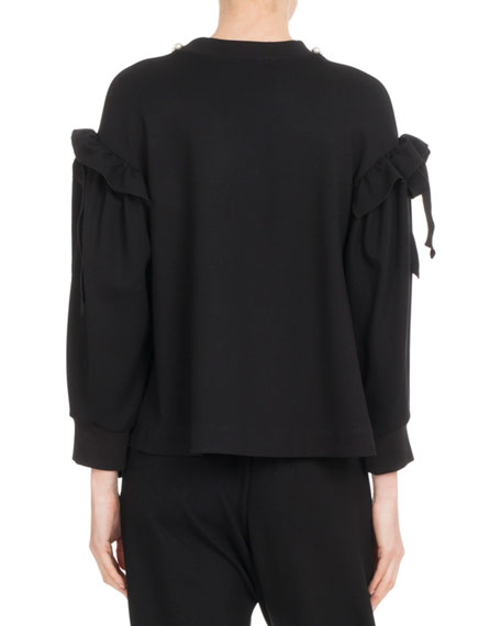 Pearlescent-Embroidered Shoulder-Bow Top