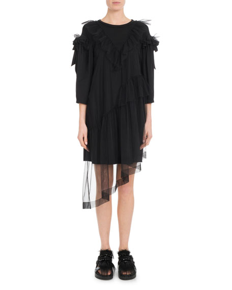 Round-Neck 3/4-Sleeve T-Shirt Dress w/ Ruffled Tulle Overlay