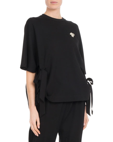 Crewneck Short-Sleeve Side-Bows Top w/ Pearlescent Trim