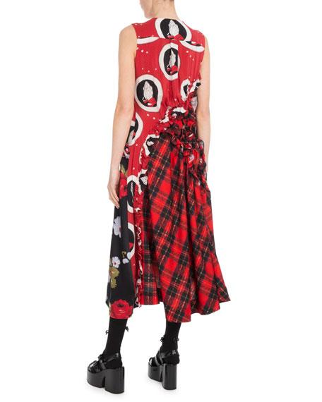 Sleeveless A-Line Ruched Floral-Print & Plaid Tartan Dress