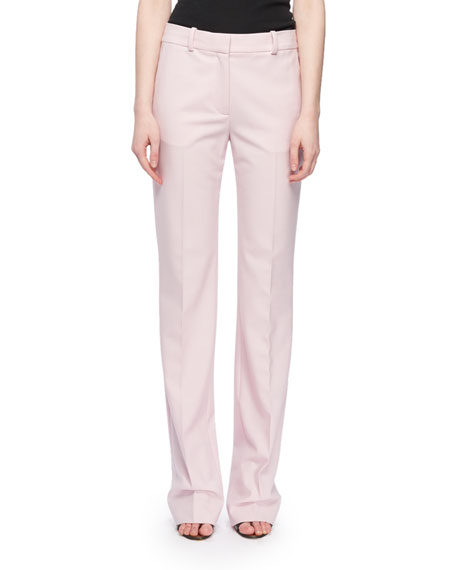 Mid-Rise Straight-Leg Wool-Blend Pants