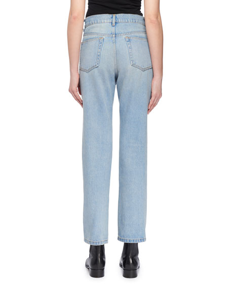High-Waist Cropped Straight-Leg Jeans w Distressing