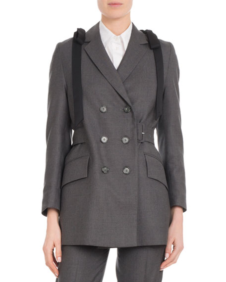 Double-Breasted Shoulder-Bows Belted Wool Straight Blazer