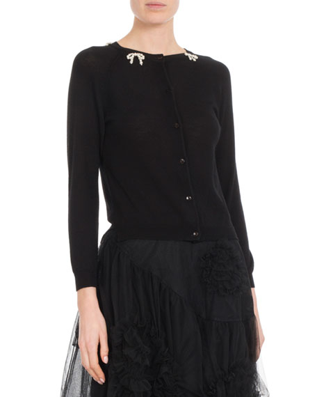 Round-Neck Button-Front Cardigan with Pearlescent-Bow Detail