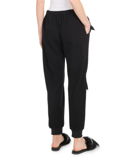 Elastic-Ankle Jogger Pants w/ Bows