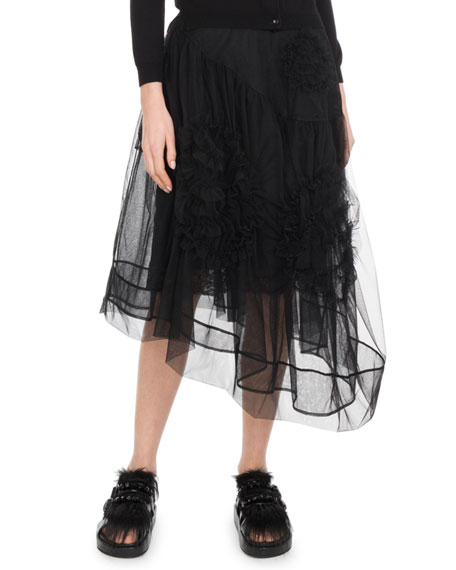 Asymmetric Hem Calf-Length Tulle Skirt w/ Flower Detail