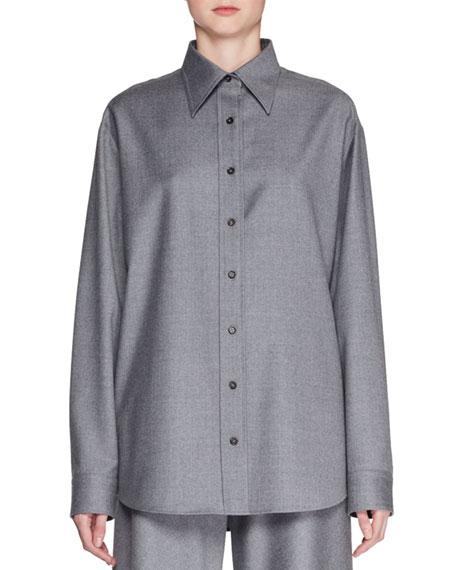 Sean Button-Front Long-Sleeve Wool Shirt