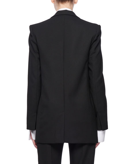 Hook-Eye Closure Wool-Blend Jacket w/ Beaded Collar