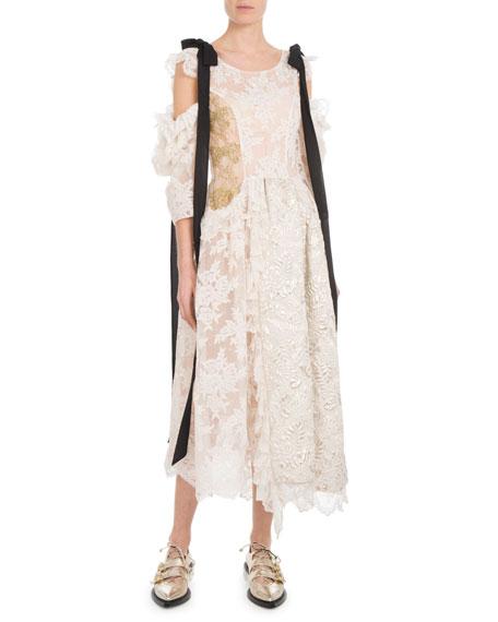 Scoop-Neck Bow Cold-Shoulder Brocade Lace Calf-Length Dress