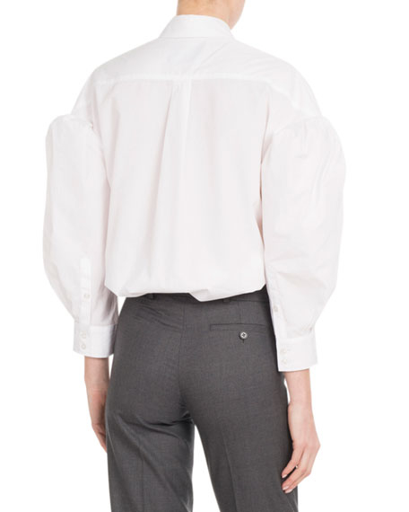 Embellished-Collar Balloon Bracelet-Sleeve Button-Front Poplin Shirt