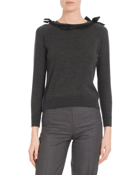 Ribbon Round-Neck Long-Sleeve Wool-Blend Knit Sweater