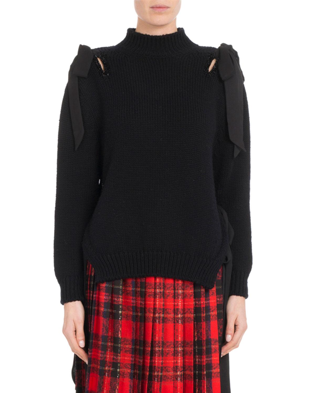 Simone Bow suéter lana de lana punto de Hombro Rochamock Neck merino OOqAxaf6