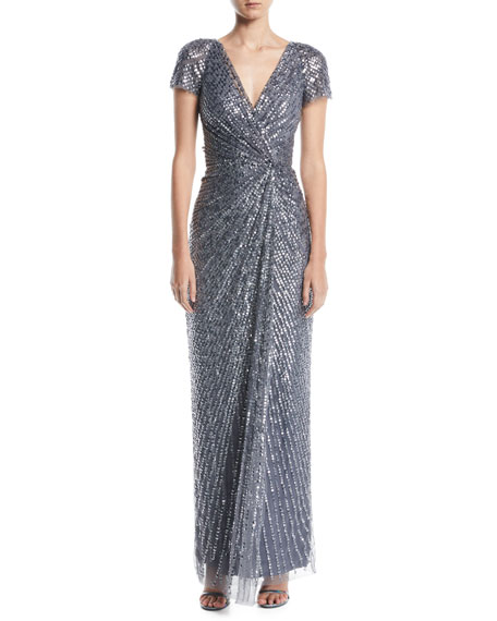 Carina V-Neck Cap-Sleeve Gathered-Waist Sequin Beaded Evening Gown