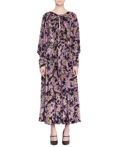Carwen Knot Keyhole-Front Full-Sleeve Velvet Voile Jacquard Evening Dress