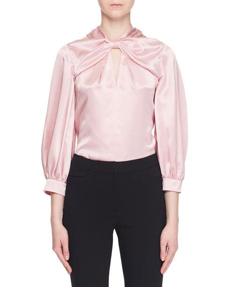 Bow-Neck Bracelet-Sleeve Cold-Shoulder Silk Blouse