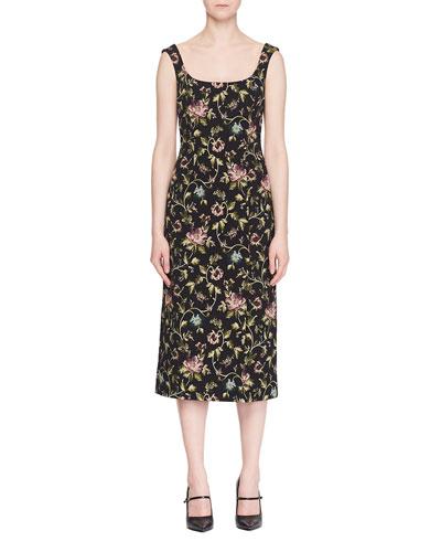 Arlie Scoop-Neck Sleeveless Floral Stretch-Jacquard Midi Dress
