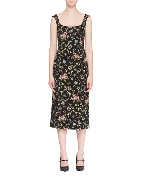 Arlie Scoop-Neck Sleeveless Floral Stretch-Jacquard Midi Dress