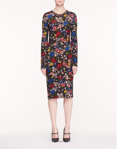 Eileen Jewel-Neck Long-Sleeve Lismore Garden-Print Ponte Jersey Sheath Dress