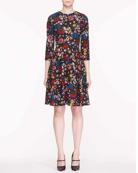 Dione Jewel-Neck 3/4-Sleeve Fluted-Skirt Lismore Garden-Print Ponte Jersey Dress