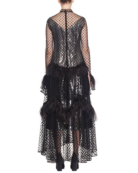 Bronte Long-Sleeve Tiered Skirt Dotted Sheer Evening Gown w/ Feathers