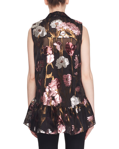 Sleeveless Metallic-Floral Fil Coupe Babydoll Top w/ Shirt Collar
