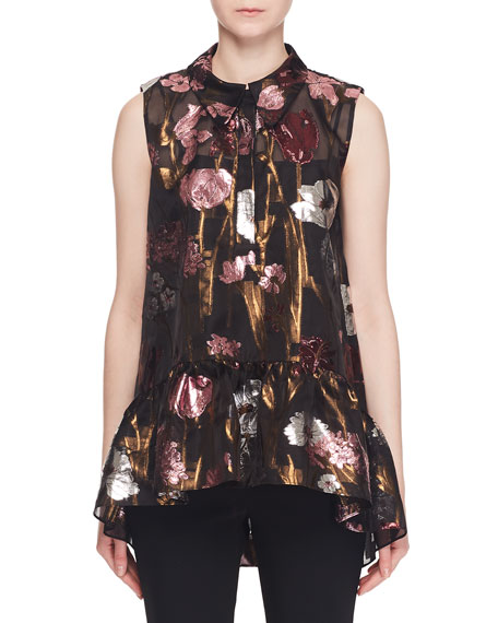 Erdem Sleeveless Metallic-Floral Fil Coupe Babydoll Top w/